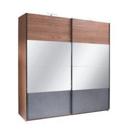 Skříň s posuvnými dveřmi, ořech / grafit, 250x219, Rekato 0000210558 Tempo Kondela