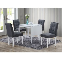 Jídelní set, rozkládací stůl, bílá / šedá, BJORK New 1+4 0000229275 Tempo Kondela