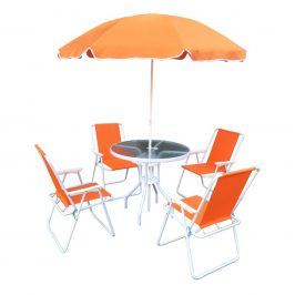 Zahradní set, oranžová / bílá, ODELO 0000227770 Tempo Kondela
