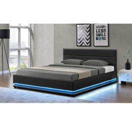 Manželská posteľ s LED osvetlením BIRGET NEW čierna Tempo Kondela 160 x 200 cm