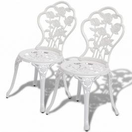 Záhradné bistro stoličky 2 ks liaty hliník Biela