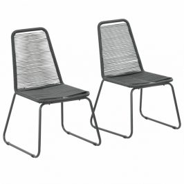 Záhradné jedálenské stoličky 2 ks čierna