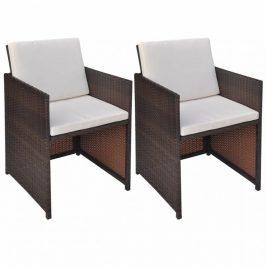 Záhradná stolička s poduškami 2 ks polyratan Hnedá