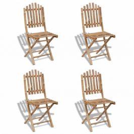 Skladacia záhradná stolička 4ks bambus