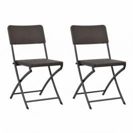 Skladacie záhradné stoličky 2 ks hnedá