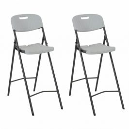 Skladacie barové stoličky 2 ks biela / čierna