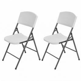 Skladacie záhradné stoličky 2 ks biela