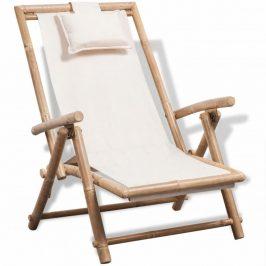 Záhradné ležadlo bambus / biela