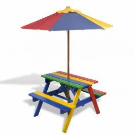 Detský piknikový stôl s lavičkami a slnečníkom