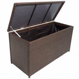 Záhradný úložný box polyratan Dekorhome Hnedá