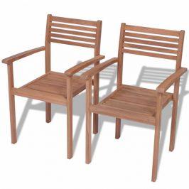 Vonkajšie stohovateľné stoličky 2 ks teak