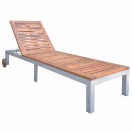 Záhradné ležadlo kov / akáciové drevo 70x207 cm