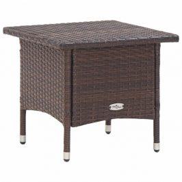 Záhradný čajový stolík polyratan Dekorhome Hnedá