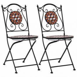 Mozaikové bistro stoličky 2 ks keramika Dekorhome Tehlová