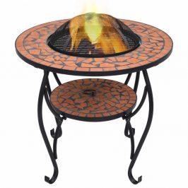 Mozaikový stolík s ohniskom Dekorhome Tehlová