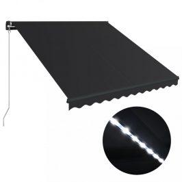 Ručne zaťahovacia markíza s LED svetlom 300x250 cm Dekorhome Antracit