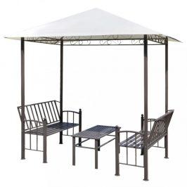 Záhradný altánok so stolom a lavicami 2,5x1,5 m Dekorhome Biela