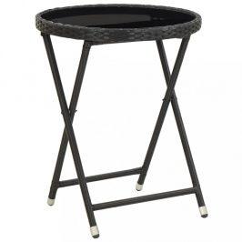 Záhradný čajový stolík polyratan Dekorhome Čierna