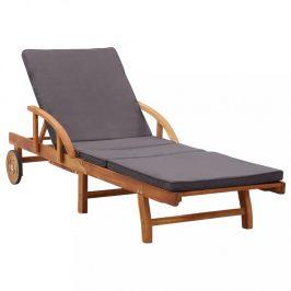 Záhradné ležadlo skladacie akáciové drevo / tmavosivá Dekorhome