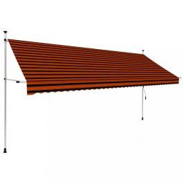 Zaťahovací markíza 400x120 cm oranžová / hnedá Dekorhome