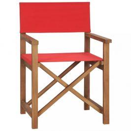 Režisérska stolička teakové drevo Dekorhome Červená