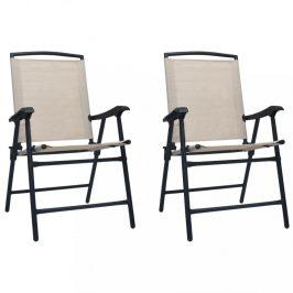 Skladacia záhradná stolička 2 ks Dekorhome Krémová