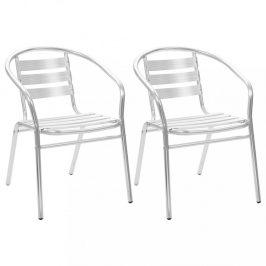 Stohovateľné záhradné stoličky 2 ks hliník Dekorhome