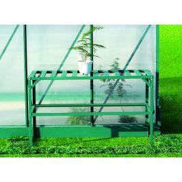 Hliníkový regál 1 polica 126x50 cm zelený Dekorhome
