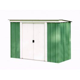Kovový záhradný domček 254 x 119 cm Dekorhome Zelená