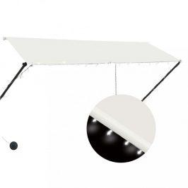 Zaťahovacia markíza s LED svetlom 300x150 cm Dekorhome Krémová