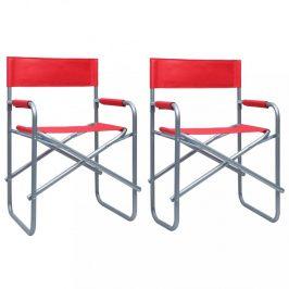 Režisérskej stoličky 2 ks oceľ Dekorhome Červená