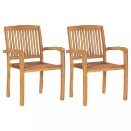 Záhradná jedálenská stolička 2 ks teakové drevo Dekorhome
