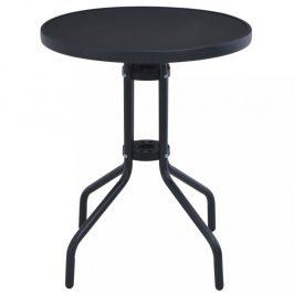 Záhradný stolík 80 cm oceľ / sklo čierna Dekorhome