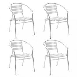 Stohovateľné záhradné stoličky 4 ks strieborná Dekorhome
