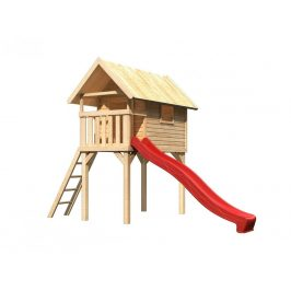 Detská hracia veža so šmýkačkou Dekorhome Červená