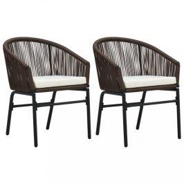 Záhradná polyratanový stolička 2 ks Dekorhome Hnedá