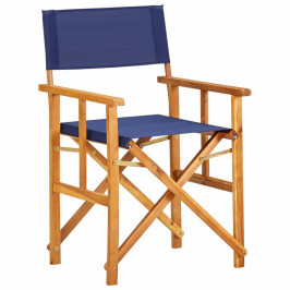 Režisérska stolička akáciové drevo Dekorhome Modrá