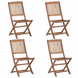 Skladacia záhradná stolička 4 ks akáciové drevo Dekorhome