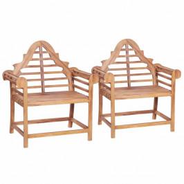 Záhradné stoličky 2 ks masívne teak Dekorhome