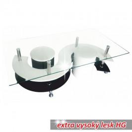 Konferenční stolek, bílá extra vysoký lesk HG / černá extra vysoký lesk HG, RUPERT 0000096132 Tempo Kondela
