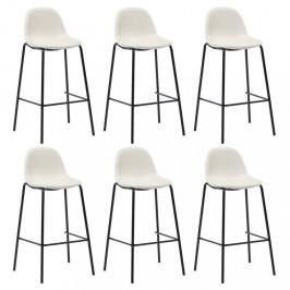 Barové stoličky 6ks textil / kov Dekorhome Krémová