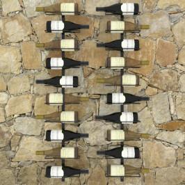 Nástenný stojan na víno na 20 fliaš 2 ks čierna Dekorhome