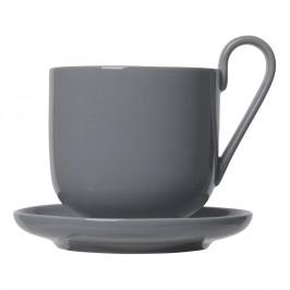 Blomus Súprava šálok na kávu s tanierikmi RO tmavosivá