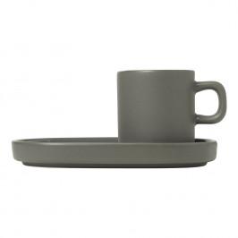 Blomus Súprava 2 hrnčekov s tanierikmi na espresso Mio cínová