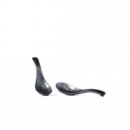 MIJ Čierna lyžica so striebornými špirálkami 14 cm