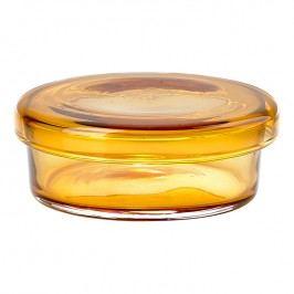 ZONE Sklenená miska s viečkom veľká amber DELI