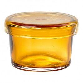 ZONE Sklenená miska s viečkom malá amber DELI