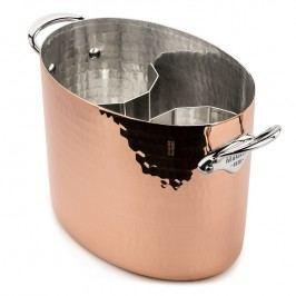 MAUVIEL Medená tepaná chladiaca nádoba na sekt oválna Ø 26 cm s uchami z nehrdzavejúcej ocele