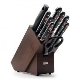 WÜSTHOF Súprava nožov s hnedým blokom, vidličkou na mäso, ocieľkou a nožnicami 10-dielna Classic