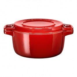 KitchenAid Liatinový hrniec Ø 24 cm s pokrievkou na grilovanie kráľovská červená